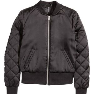Black Satin Quilted H&M Bomber Jacket (Sold Out)